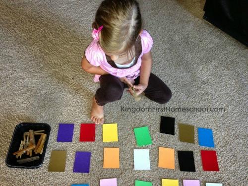 Paint chip clothespin color match