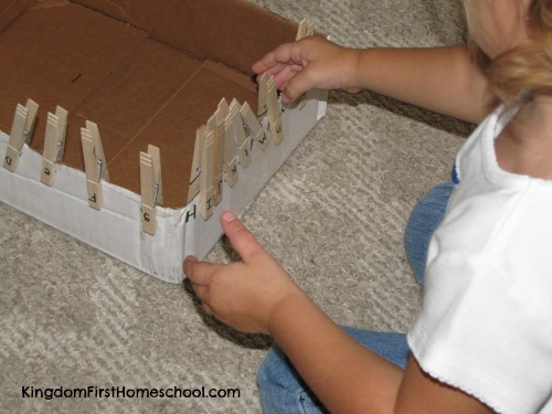 fine motor skills activities Clothespin Alphabet