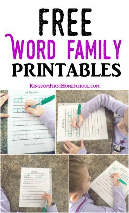 Free Word Family Printables Pin